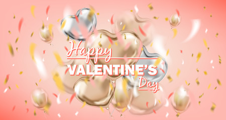 Happy Valentines Day pink card with metallic air balloons. Design for Valentine postcard, coral background Illustration