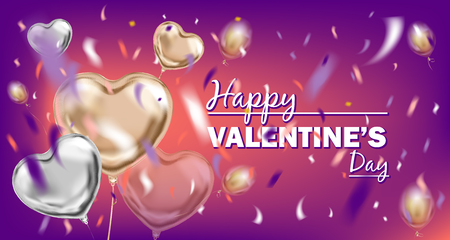 Happy Valentines Day image with metallic foil heart shape air balloons at the left. Vector design for Valentines Day, violet background