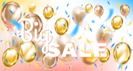 Big Sale pink and gold vector banner with metallic balloons in air