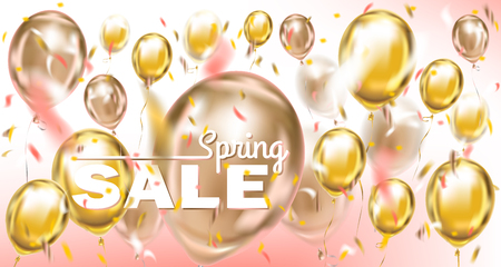 Spring sale pastel banner with metallic balloons and confetti in pink air
