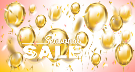 Seasonal sale pastel banner with metallic balloons and confetti in pink air