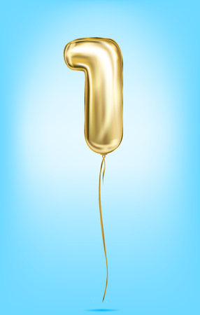 High quality vector image of gold balloon numbers. Digit 1, one Illustration