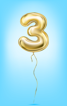 High quality vector image of gold balloon numbers. Digit three, 3 Ilustração