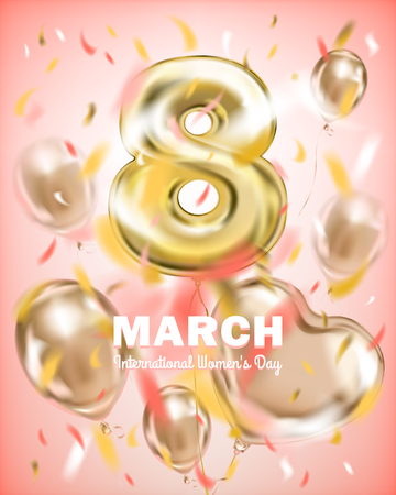 8th March, International Womans Day. Golden foil balloon eight on the pink background