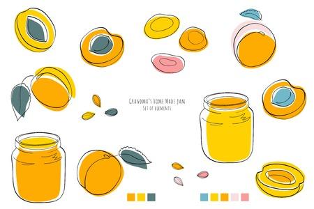 Grandmas apricot home made jam, set of elements