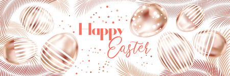 Happy Easter banner with pink gold eggs and palm branches on the white background