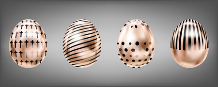 Four glance metallic eggs in pink color with black cross, dots and stripes. Isolated objects for Easter decoration