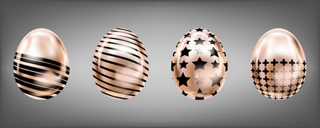 Four glance metallic eggs in pink color with black star, cross and stripes. Isolated objects for Easter decoration Çizim