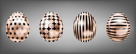 Four glance metallic eggs in pink color with black cross, stripes, dots. Isolated objects for Easter decoration Çizim