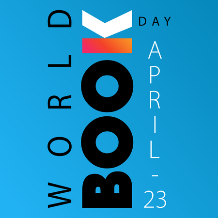 World Book Day poster with letter K aka open book on the blue