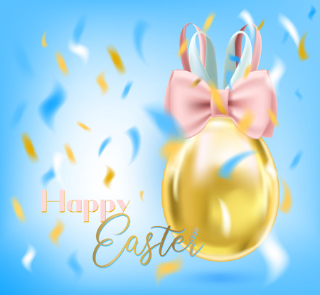 Easter greeting card with shiny golden egg with bunny silk bow and confetti Ilustrace