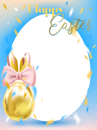 Easter White Egg with Bunny Bow and blanc egg-form card on the blue background. Template for warm greeting
