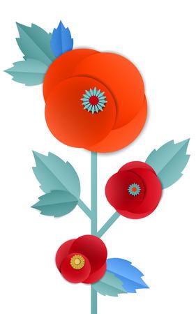 Vector cut paper poppy flowers in bouquet