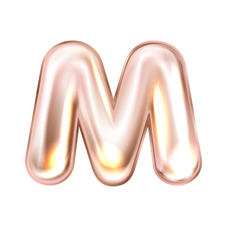 Perl pink foil inflated alphabet symbol, isolated letter M