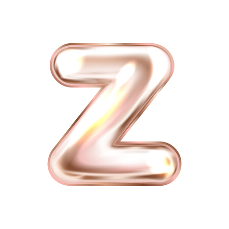 Perl pink foil inflated alphabet symbol, isolated letter Z Illustration