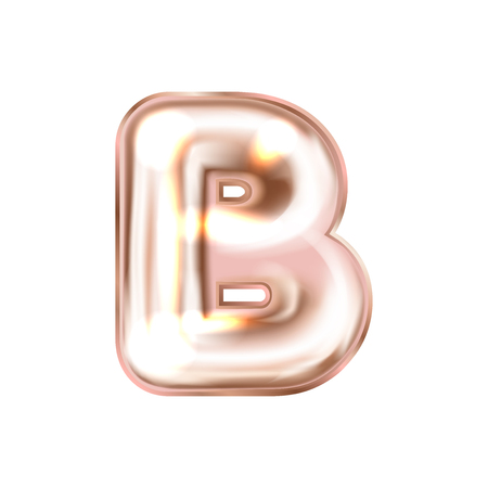Perl pink foil inflated alphabet symbol, isolated letter B Illustration