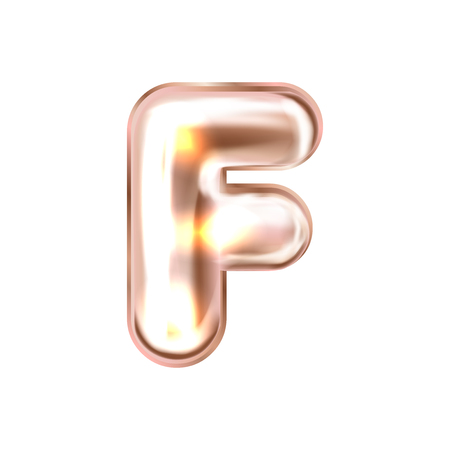 Perl pink foil inflated alphabet symbol, isolated letter F