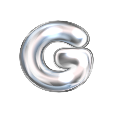Silver perl foil inflated alphabet symbol, isolated letter G
