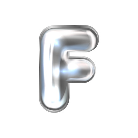 Silver perl foil inflated alphabet symbol, isolated letter F Illustration