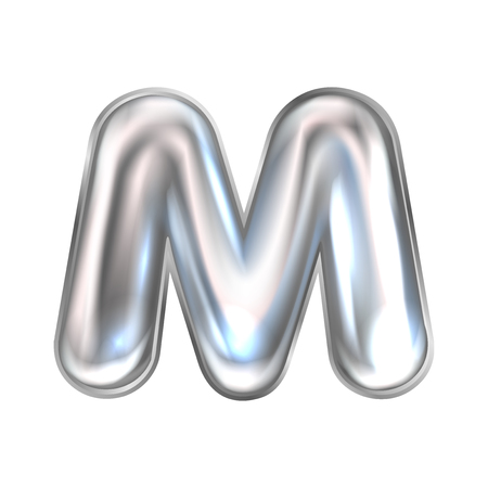 Silver perl foil inflated alphabet symbol, isolated letter M