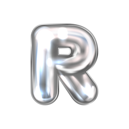 Silver perl foil inflated alphabet symbol, isolated letter R