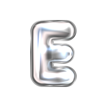 Silver perl foil inflated alphabet symbol, isolated letter E