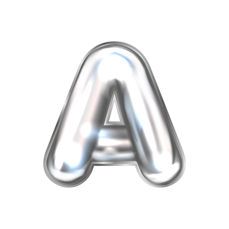 Silver perl foil inflated alphabet symbol, isolated letter A
