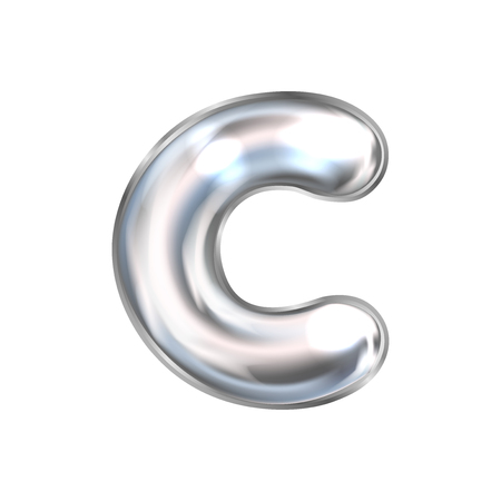 Silver perl foil inflated alphabet symbol, isolated letter C