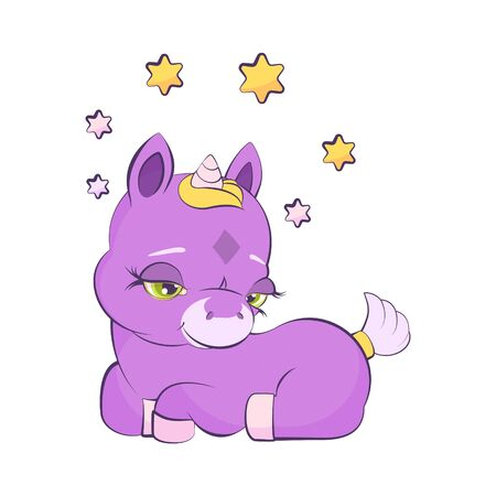 Cute little lavander unicorn in a star wreath