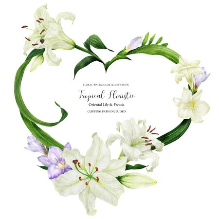 Tropical wreath with white lily and freesia, botanical watercolor