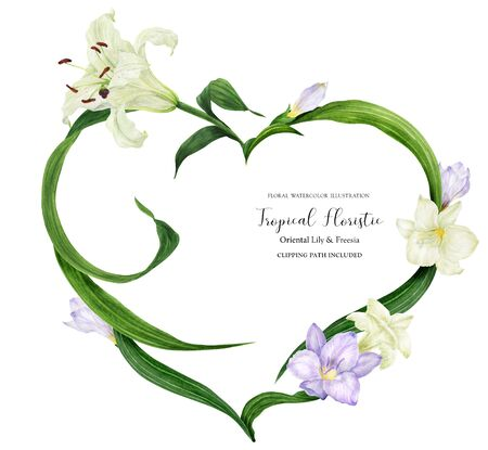 Tropical heart wreath with white lily and violet freesia, watercolor