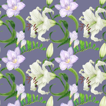 Lily and freesia flowers watercolor purple seamless pattern Stock Photo