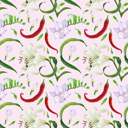 Tropical flowers and red peppers watercolor seamless pattern