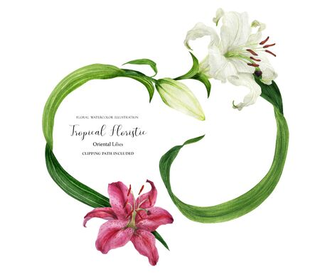 Tropical heart wreath with oriental lilies Stock Photo