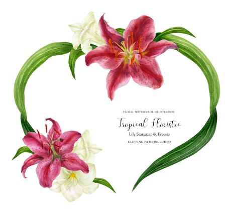 Tropical heart wreath with stargazer lily and freesia