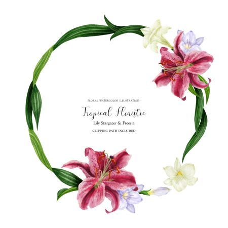 Tropical round wreath with stargazer lily and freesia