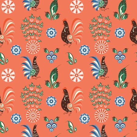 Russian folk seamless pattern with chickens and cockerels on a red field Vettoriali