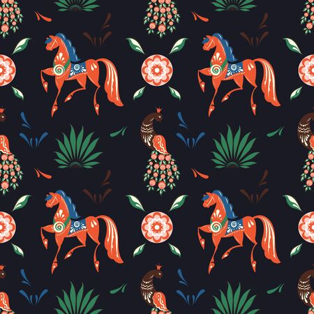 Russian folk floral dark seamless pattern with peacock and horse