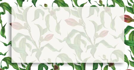Floral landscape watercolor banner with alstroemeria branches 版權商用圖片
