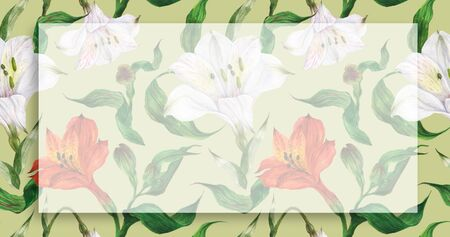 Floral landscape watercolor banner with red and white flowers and leaves