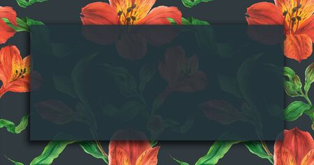 Floral landscape watercolor banner with red alstroemeria flowers