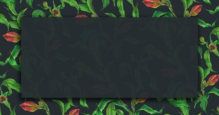 Floral dark watercolor banner with alstroemeria branches with red buds 版權商用圖片