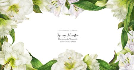 Floral bridal banner with white alstroemeria and hippeastrum flowers, realistic illustration