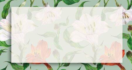 Floral landscape watercolor banner with red and white flowers