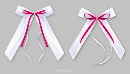Wedding red white silk bows, isolated objects
