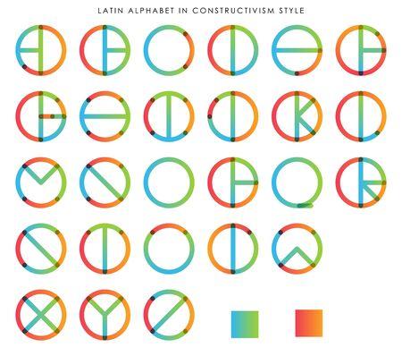 Latin Alphabet in Constructivism Style, gradient semi flat colors