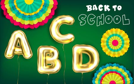 Back to School green poster with golden foil balloons