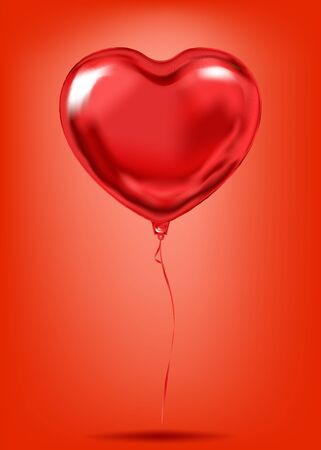 Red Foil Heart Shape Balloon, desire love symbol. Image for birthday celebration, social party and any holiday events. Isolated vector shiny red platinum balloon in the air
