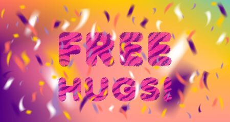 Free Hugs cute striped fluffy lettering and colored confetti 일러스트
