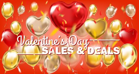 Valentines Day sales and deals banner with gold metallic balloons on the red